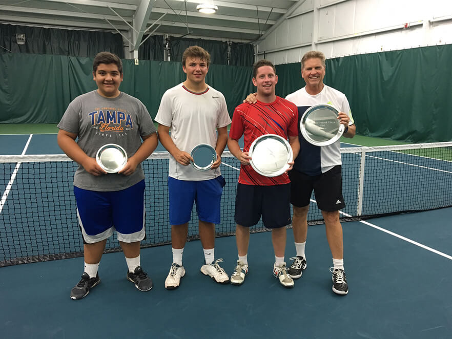 Men's A Doubles: L-R: Finalists: Dimitri Minichello Winners: Alex Burbine, Skip Burbine